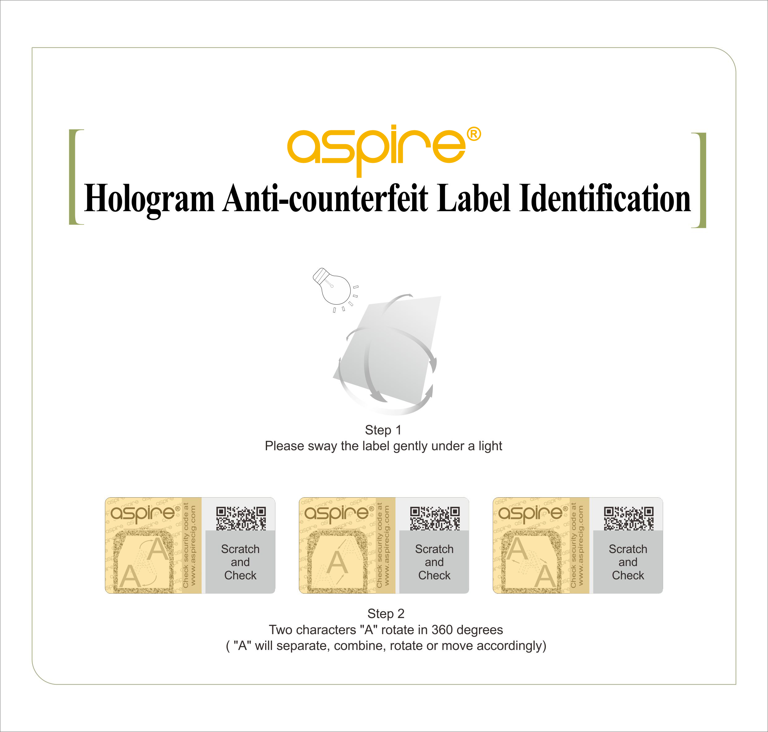 aspire hologram anti-counterfeit label identification