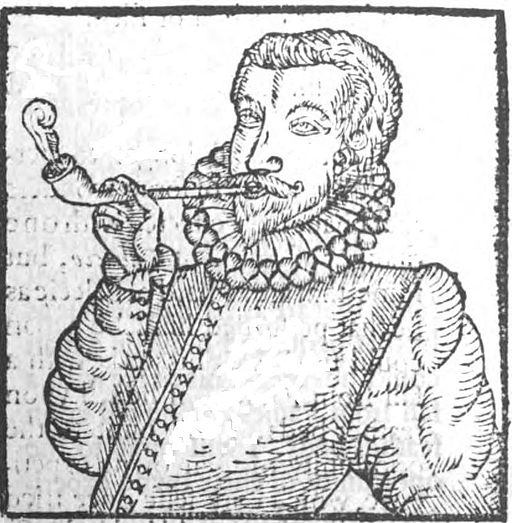 First depiction of a man smoking tobacco from 1595