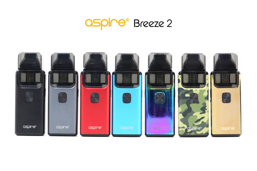 The Aspire Breeze 2 in black, gray, red, blue, rainbow, camo and gold colors.