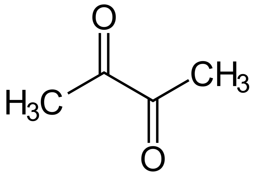 Chemical structure of diacetyl