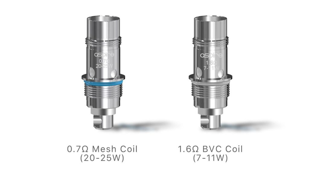 The Nautilus Kit comes with two coils: a Nautilus BVC coil of 1.6 ohm and one Nautilus 2S mesh coil of 0.7 ohm that is preinstalled.