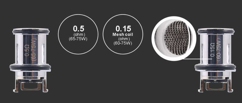 The Aspire Nepho tank comes with two sub-ohm coils: a 0.15 mesh coil (60-75W) and a 0.5-ohm coil (65-75W).