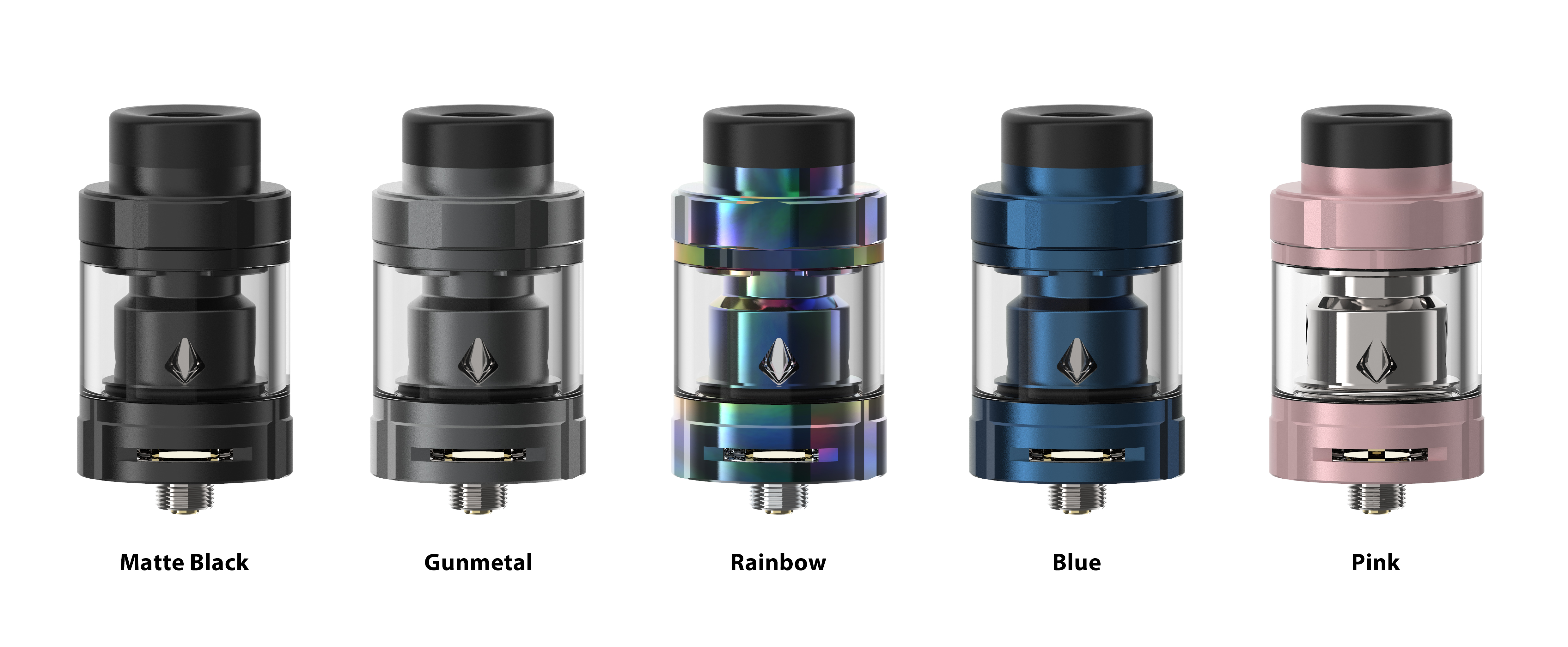 The Aspire Odan EVO tank TPD version in matte black, gunmetal, rainbow, blue and pink.