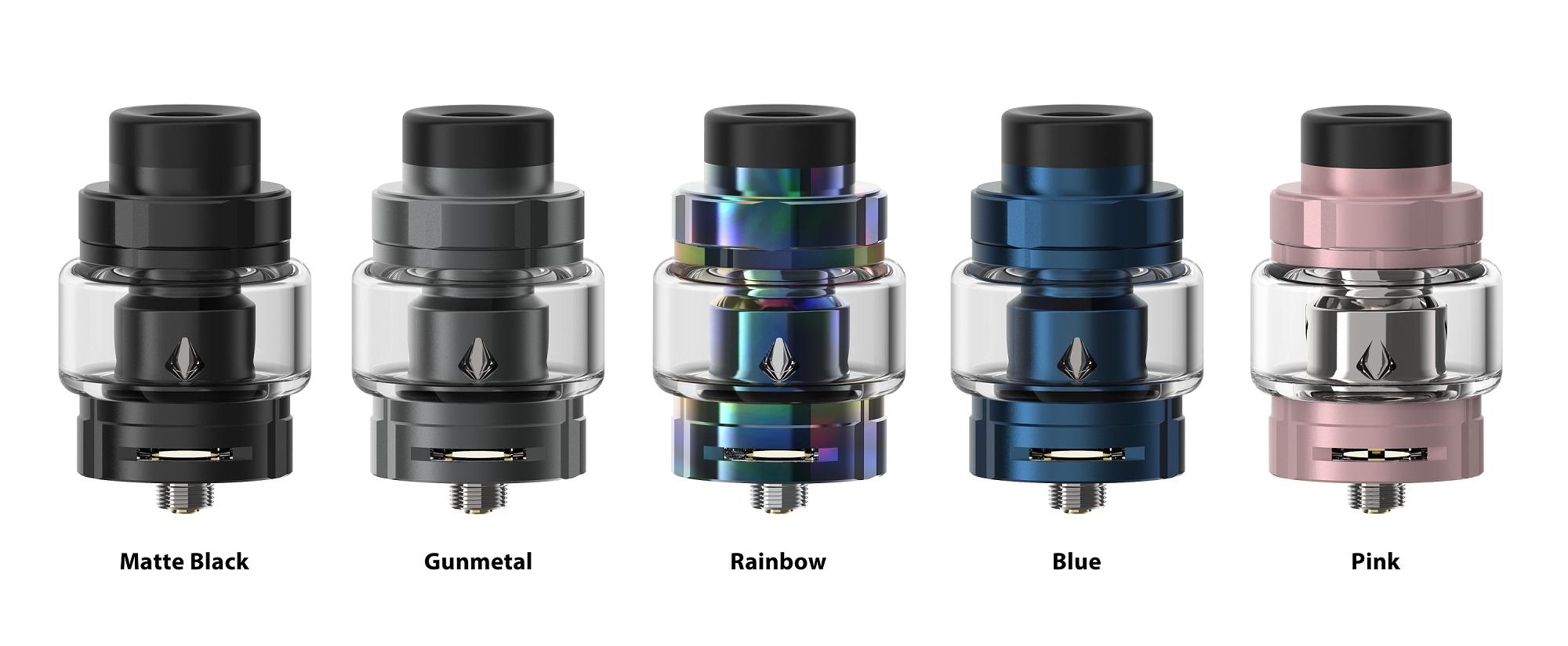 The Aspire Odan EVO Standard version in matte black, gunmetal, rainbow, blue and pink.